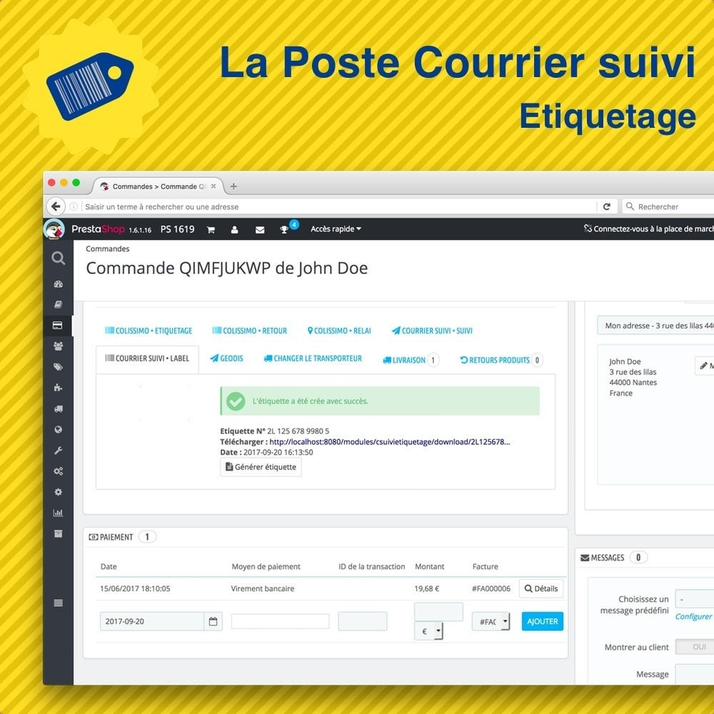 module - Preparation & Shipping - La Poste Courrier suivi • Etiquetage - 5