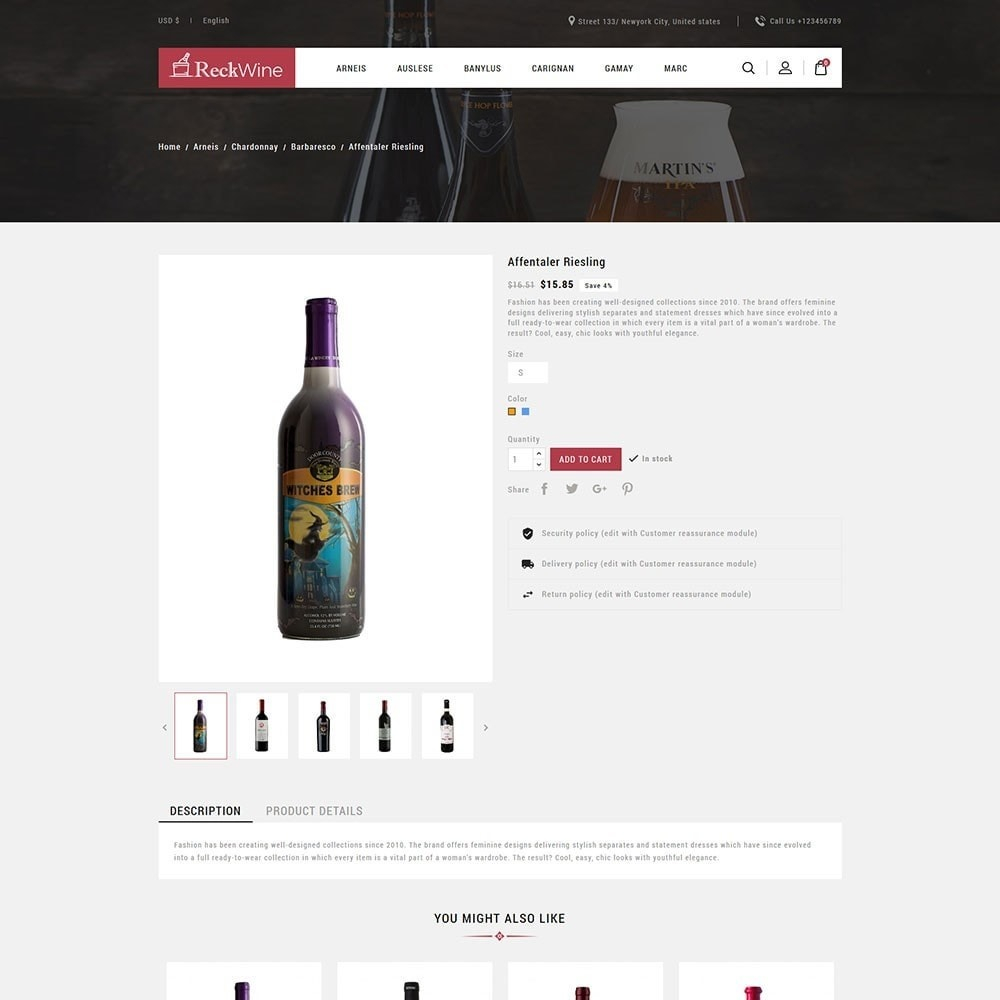 theme - Food & Restaurant - Recwine - Wine Store - 5