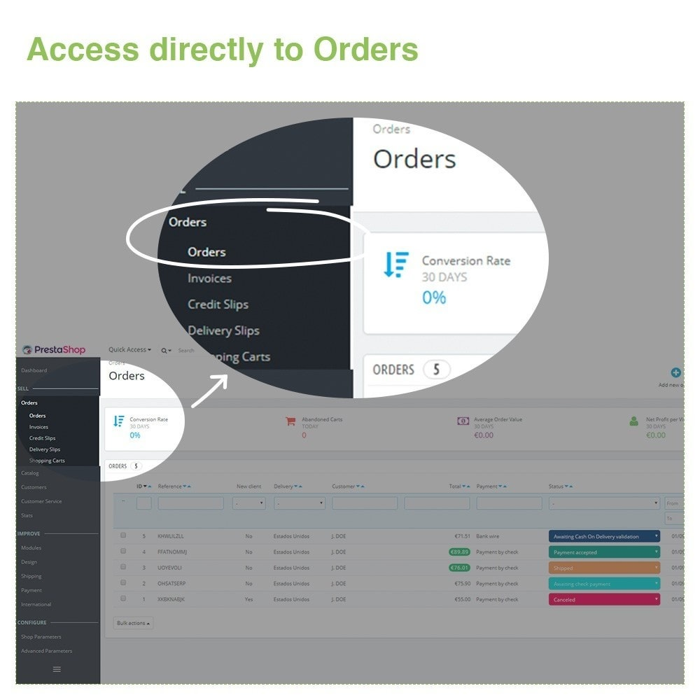 module - Orderbeheer - Changing Order Status Directly from the Order List - 2