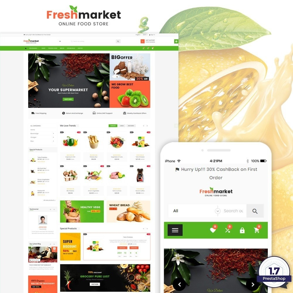 theme - Продовольствие и рестораны - Fresh Market – Food Super Store v3 - 1