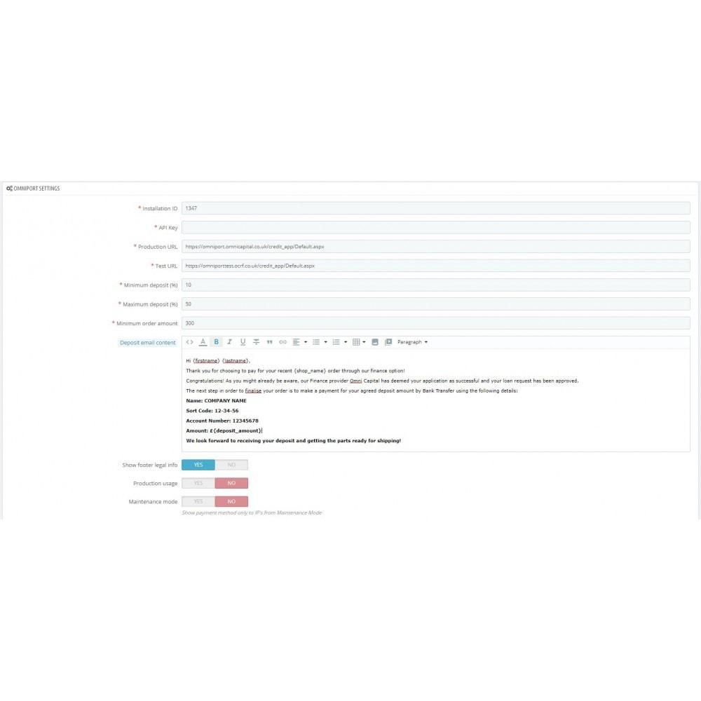 module - Formas de Pagamento Alternativas - Omni Capital Installment - 1