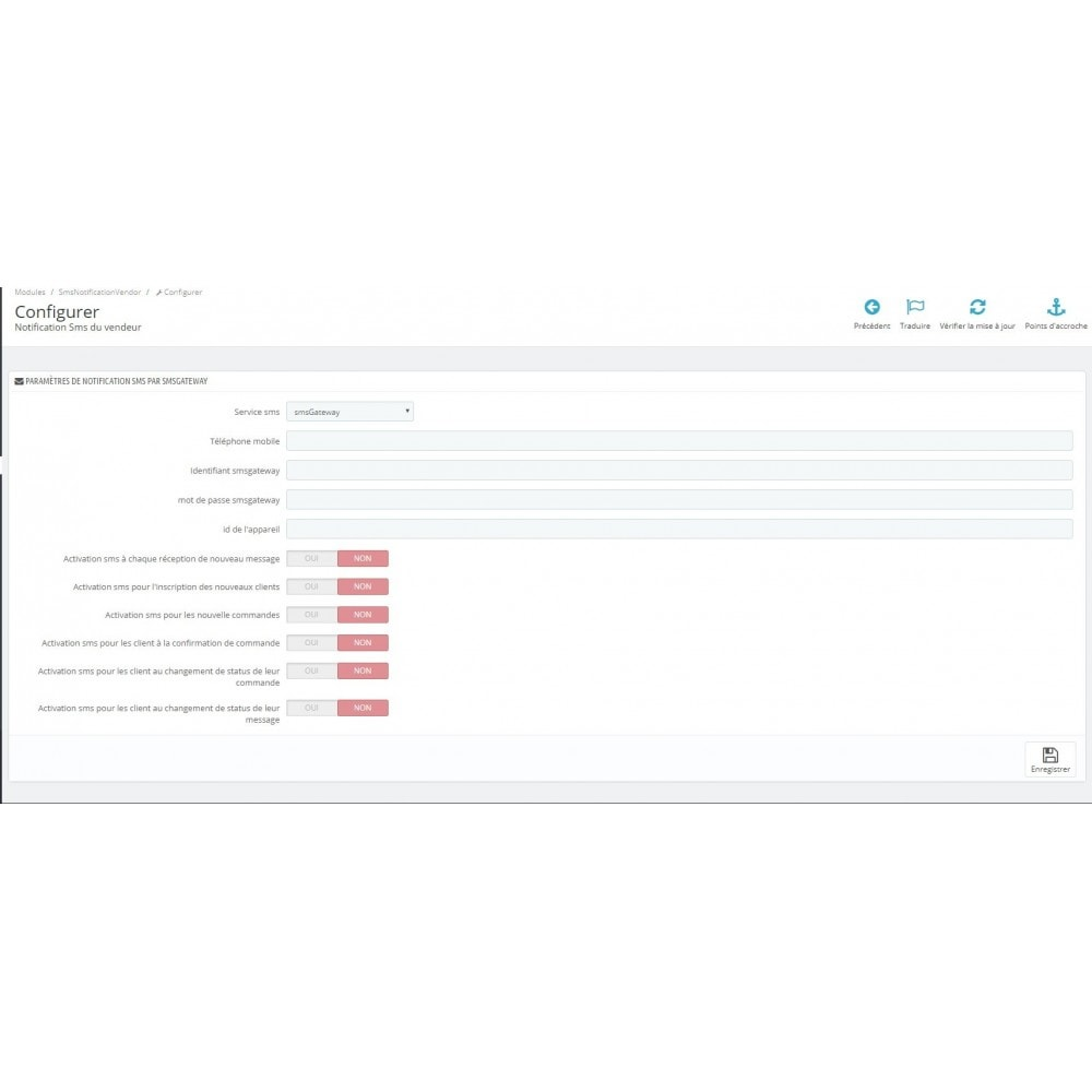 module - Notifications & Automatic Emails - Free SMS notifications using your own network and more - 3