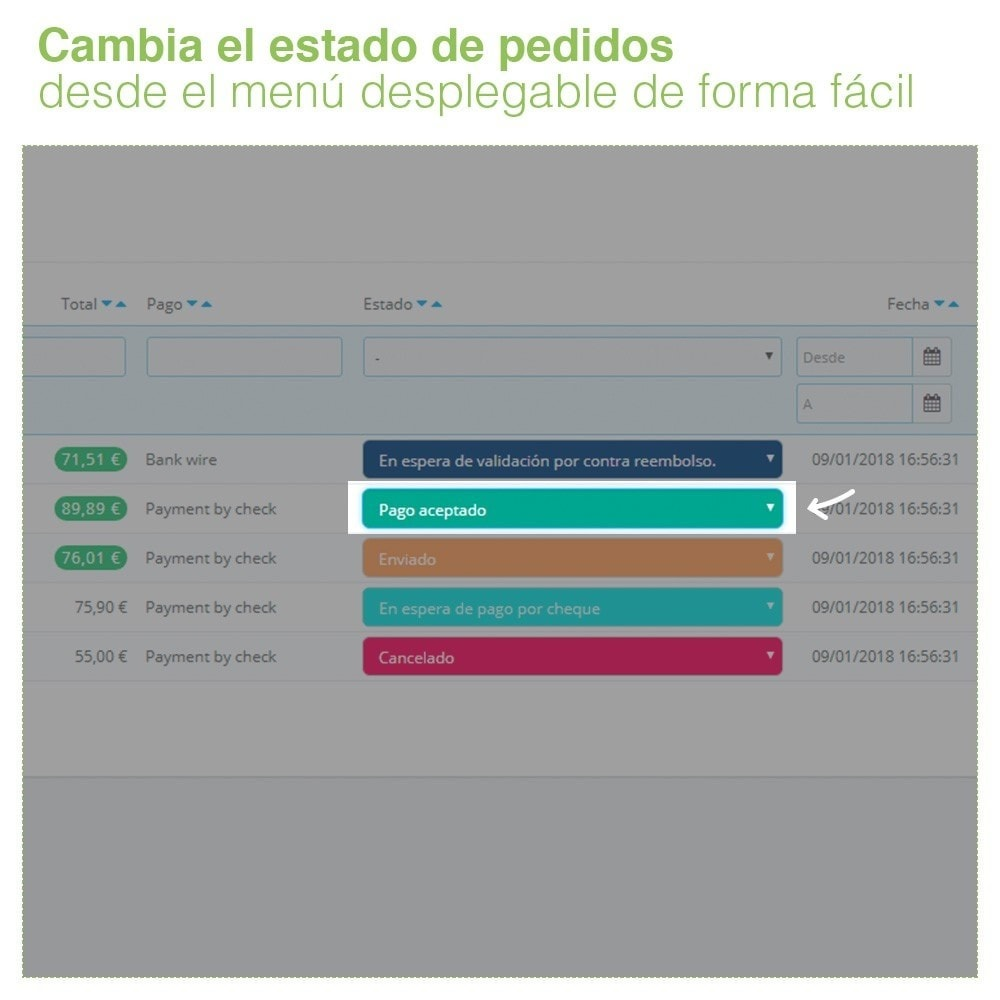 module - Gestión de Pedidos - Cambiar Estado de Pedidos desde el Listado de Pedidos - 3